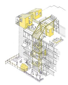 UN-Habitat Announces Winners of Mass Housing Competition,In Valencia, the housing block is altered by temporary additions. Image Courtesy of Improvistos Nunca Vistos (María Tula García Méndez & Gonzalo Navarrete Mancebo) Architecture Design, Architecture Portfolio, Architecture Graphics, Architecture Diagrams, Temporary Architecture, Architecture Board, Valencia Spain, Isometric Drawing, Axonometric Drawing