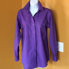 PURPLE BUTTON DOWN SHIRT NICE!! Take this from work to play. Front pocket.  Wear this all year around. Stand your color up like I do☺️⚫️NO TRADE. NO PAYPAL⚫️ Foxcroft Tops Button Down Shirts