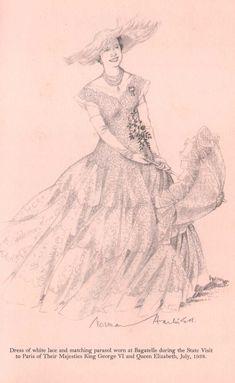 Queen-Elizabeth-( The Queen Mother) White-Wardrobe-Paris-1938. Designer Norman Hartnell