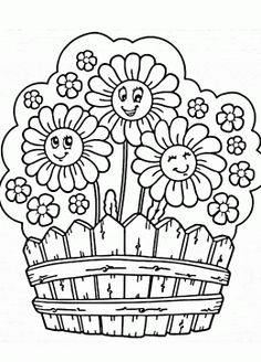 Cute Garden Flowers Coloring Page For Kids Flower Pages Printables Free
