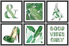 BANANA LEAF: Hand Painted Fashion Illustration Bedroom / di HOBBRY