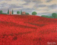 Poppy fields in Tuscany – acrylic painting by Monika Szilagyi Poppy Fields, Fine Art Photography, Tuscany, Poppies, Artworks, Artist, Painting, Design, Artists