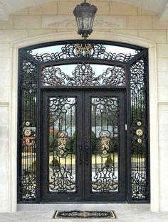 Custom Iron Entry Doors manufactured by Manhattan Iron Doors. Front Gate Design, Main Gate Design, Door Gate Design, Grand Entrance, Entrance Doors, Doorway, Iron Front Door, Front Doors, Steel Doors And Windows
