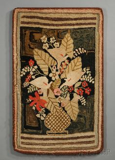 Pictorial Hooked Rug Depicting a Vase of Flowers | Sale Number 2680B, Lot Number 162 | Skinner Auctioneers