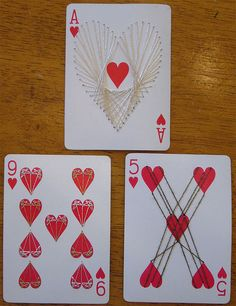 Altered Playing Cards with metallic hand sewing; Silver and Gold 9 of hearts, Interwoven 5 Playing Card Crafts, Playing Cards Art, Atc Cards, Journal Cards, Art Connection, Art Trading Cards, Artist Card, Card Book, Book Projects