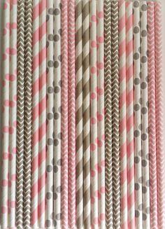 Paper Straws (50) Light Pink & Grey Stripe, Chevron, Dot Paper Straws, Mason Jars Straws, Rustic Wedding, Princess Birthday, Bridal Baby Shower $5.99