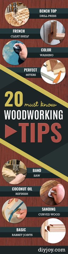 Cool Woodworking Tips- Easy Woodworking Ideas, Woodworking Tips and Tricks, Woodworking Tips For Beginners, Basic Guide For Woodworking http://diyjoy.com/diy-woodworking-tips                                                                                                                                                                                 More