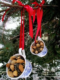 Teacup Birdfeeders ~ Use What You Have! http://ourfairfieldhomeandgarden.com/birdfeeders-use-what-you-have/