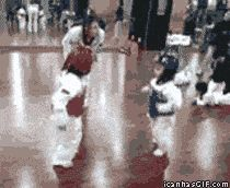 Martial arts gif of tiny tots sparring