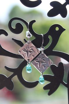 Autumn leaves silver earrings made from art clay silver with embossed leaf design.