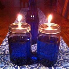 DIY oil lamps, I like any color as long as its blue.