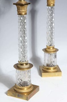 Pair of Russian Crystal & Bronze Candelabras, Imperial Russian Glass Workshop 4