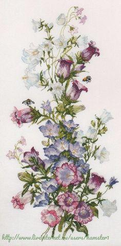 """Милая вышивка - """"Летние цветы""""(со схемой)"""