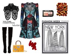 """""""New York fashion week"""" by denisahad ❤ liked on Polyvore featuring Stephenson, Elie Saab, Christian Louboutin, Gucci, Dsquared2, Jennifer Behr, Giorgio Armani, Obsessive Compulsive Cosmetics and Maybelline"""