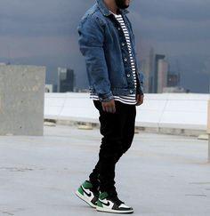 🍃🍃 #Zara Denim Jacket #HM Hoodie & Tee #Gap Custom Denim #Jordan4 \