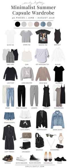 My Summer 2018 Capsule Wardrobe - Emily Lightly // minimalist style slow fashion. Lillie Hutchinson Lifestyle My Summer 2018 Capsule Wardrobe - Emily Lightly // minimalist style slow fashion minimalism simple living simple styl Capsule Wardrobe 2018, Summer Wardrobe, Capsule Outfits, Capsule Clothing, Wardrobe Clothing, Yoga Clothing, Clothing Stores, Clothing Ideas, Size Clothing