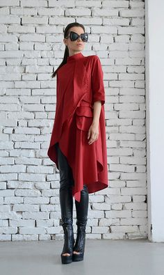 Asymmetric Red Shirt/Long Loose Tunic/Extravagant by Metamorphoza