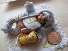 b'ful OOAK  baby boy, removable coat *tigger* 1/12, dolls house