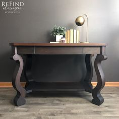 Stunning Empire Library Table with custom General Finishes Dye Stain top and Lamp Black base. Empire Furniture, Custom Furniture, Vintage Furniture, Painted Furniture, Shaker Furniture, Furniture Ideas, Furniture Design, Quirky Home Decor, Home Office Decor
