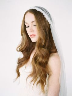 LOVE FIND CO The LOULOU / Chapel Length Juliet Cap Veil by Percy Handmade