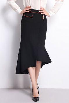 Ruffle Hem Asymmetrical Skirt ==