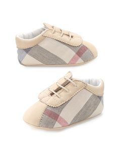 Bosco Check Newborn Boys\' Shoes, Stone by Burberry at Neiman Marcus.
