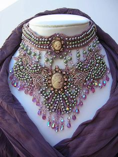 Necklace | Crystal Gaye. 'Goddess Abundanita'. Swarovski Crystals & Pearls in Light Amethyst & antique green, surround five elegant cameos. Heavily beaded on a foundation of hand dyed lace