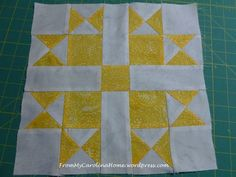 Block of the Month – August 2014 by Carole..This month's block is Variable Star from Quilt Blocks Galore.The quilt shop chose yellow for the main color this month. It really helps when you are doing these blocks to check the supply requirements at the end before you start. On this block, the center square is not addressed in the cutting, it is only referenced on the second page.