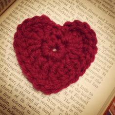Happy heart day | Jeanetta Darley Crocheted heart pin for Valentine's Day