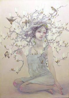 Miho Hirano - 花盛りー白木蓮ー M15 Oil on canvas