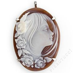 Cameo Brooch of a Young Woman Framed in Flowers | Italian Designer Cameo | New Cameo Collection Pierotucci.com : pierotucci cameo brooch italian cameo cameo jewelry