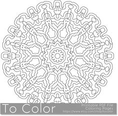 Printable Coloring Pages for Adults, Mandala Pattern, PDF / JPG, Instant Download, Coloring Book, Coloring Sheet, Grown Ups, Mandala by ToColor on Etsy