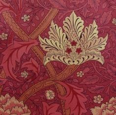Windrush fabric in Red/Brick by Morris & Co, 1883. Originally printed by the banks of the River Wandle, in Morris' newly opened workshop, and was named after another river, the Windrush, in Oxfordshire
