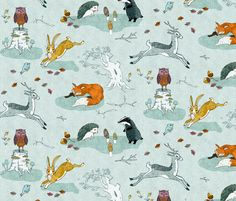 Hogs under hedges + foxes on copses fabric by nouveau_bohemian on Spoonflower - custom fabric