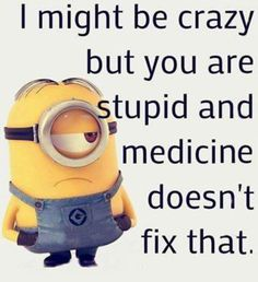 Medicine Doesn't Fix Stupid funny quotes quote funny quotes humor minions stupid minion quotes really funny quotes Minion Humour, Funny Minion Memes, Minions Quotes, Funny Jokes, Minion Sayings, Minion Pictures, Funny Pictures, Minions Images, School Pictures