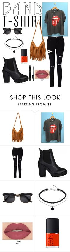 """""""Concert Outfit"""" by jossxx ❤ liked on Polyvore featuring Miss Selfridge, H&M, Smashbox, Lancôme, NARS Cosmetics, TrickyTrend, bandtshirt, fashionset and bandtee"""