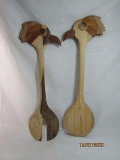 Vintage Hand Carved Wood Birds face Spoon Fork Serving/Cooking Server Set Unique