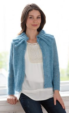 Knit this airy cardigan with LB Collection® Wool Stainless Steel and LB Collection® Silk Mohair - on sale 20% off for a limited time! Free pattern calls for 3 - 5 balls of Wool Stainless Steel (pictured in teal) and 6 - 10 balls of Silk Mohair (pictured in azure) and sizes 5 (3.75mm) and 9 (5.5mm) knitting needles.
