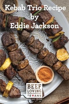 Fire up the grill with Chef Eddie Jackson and prepare a beef shish kebab trio with flavors from across the world. Halal Recipes, Kebab Recipes, Lebanese Recipes, Mexican Food Recipes, Beef Recipes, Cooking Recipes, Traditional Mexican Food, Shish Kebab, Marinated Steak