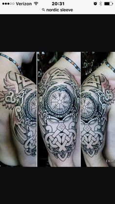 Viking Tattoo Sleeve, Viking Tattoo Symbol, Norse Tattoo, Viking Tattoo Design, Tribal Arm Tattoos, Head Tattoos, Time Tattoos, Body Art Tattoos, Irish Tattoos