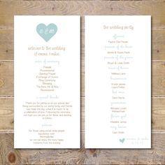 Wedding Programs, Printable Wedding Program, Wedding Program Template, Digital File, Order of Service Card, Order Of Service -Heart Monogram by SweetBellaStationery on Etsy https://www.etsy.com/listing/226542427/wedding-programs-printable-wedding