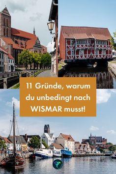 Sehenswürdigkeiten in Wismar sind zahlreich. Vor allem die Giebelhäuser und der Hafen haben mich in den Bann gezogen! Ich lege mich fest: Wismar ist die schönste Hansestadt. Ich zeige dir, warum. Die schönsten Orte und ein Ausflug auf die Insel Poel verrate ich im Artikel auf meinem Blog. Schau mal rein!   #wismar #MeckPomm #Ostsee #DeutschlandUrlaub #UrlaubinDeutschland #Geheimtipp #Städtereise #Städtetrip German Language Learning, Reisen In Europa, Times Square, Louvre, Explore, Building, Travel, Hotels, Holidays