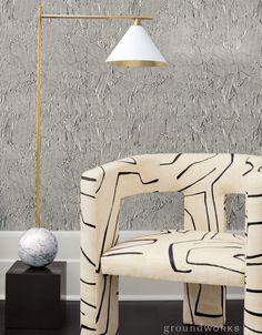 Groundworks Kelly Wearstler - Avant Wallpeper, Graffito fabric Apartment Interior Design, Best Interior, Modern Interior Design, Interior Styling, Rustic Home Design, Modern House Design, Contemporary Home Decor, Modern Decor, American Interior
