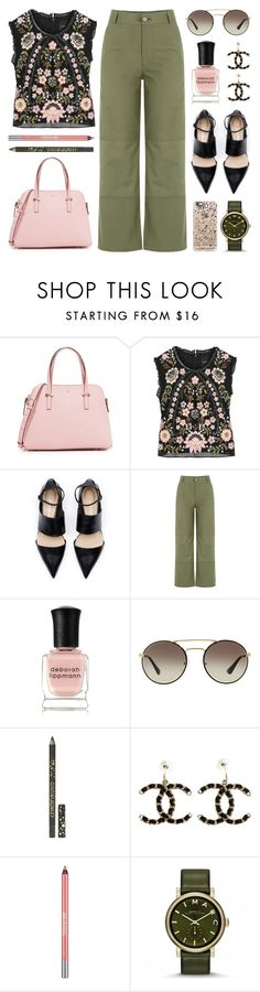 """""""Cropped Top & Culottes"""" by lgb321 ❤ liked on Polyvore featuring Kate Spade, Needle & Thread, M.i.h Jeans, Deborah Lippmann, Prada, Cynthia Rowley, Chanel, Urban Decay, Marc by Marc Jacobs and Casetify"""