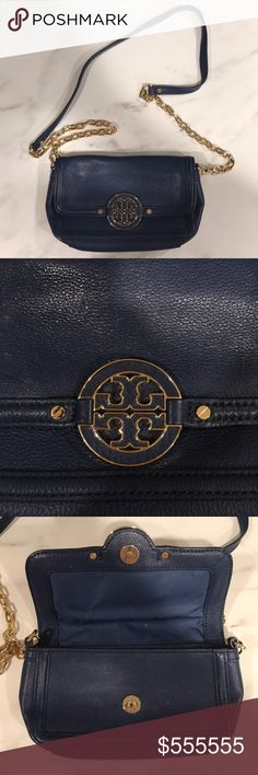 "Authentic Tory Burch Blue Leather 3 Way Wear Bag Authentic Tory Burch Blue Leather Bag -  Blue Pebbled Leather bag with Gold Hardware. Strap is made of gold chain links with blue leather accent and is detachable from the bag.  This chic bag is super versatile and can be worn 3 different ways: as a crossbody bag, as a shoulder bag , and as a clutch if you remove the strap.  Strap Drop: 22""  *Purchase comes with Tory Burch Dust Bag* Tory Burch Bags Crossbody Bags"