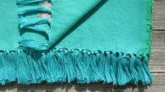 """TRIBEWOOD's BEACH BLANKET """"LINUM"""" ocean-fresh turquoise blue 100% Linen"""