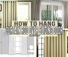 How to Hang Curtain Rod Over Sliding Door rods for sliding glass doors Glass Door Curtains, Sliding Door Curtains, Patio Door Curtains, Sliding Door Window Treatments, Window Treatments Living Room, How To Hang Curtains, Apartment Curtains, Curtain Door, Blinds Curtains
