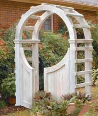 Not sure if I want to make this Arbor out of pvc or wood.  I'll have to think about that.  http://www.binkyswoodworking.com/BeckysArbor.php