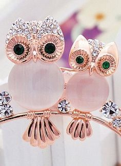 Rhinestone Owl Brooch