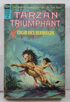 ROY KRENKEL JR. assisted by FRANK FRAZETTA  - art for Tarzan Triumphant by Edgar Rice Burroughs - 1962 Ace paperback F-194